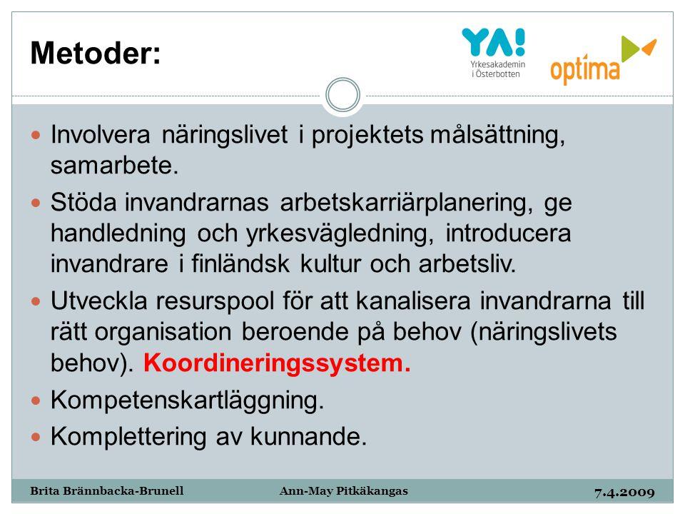 Metoder: 7.4.2009 Brita Brännbacka-Brunell Ann-May Pitkäkangas Involvera näringslivet i projektets målsättning, samarbete. Stöda invandrarnas arbetska
