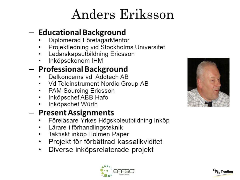 Anders Eriksson – Educational Background Diplomerad FöretagarMentor Projektledning vid Stockholms Universitet Ledarskapsutbildning Ericsson Inköpsekon