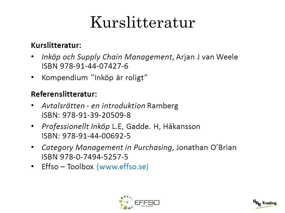 """Kurslitteratur Kurslitteratur: Inköp och Supply Chain Management, Arjan J van Weele ISBN 978-91-44-07427-6 Kompendium """"Inköp är roligt"""" Referenslitter"""