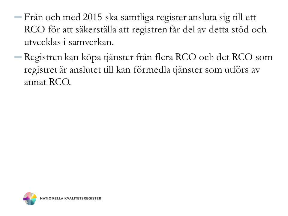 Från och med 2015 ska samtliga register ansluta sig till ett RCO för att säkerställa att registren får del av detta stöd och utvecklas i samverkan. Re