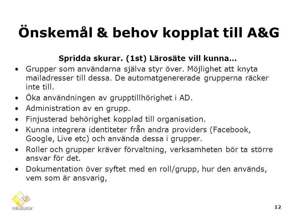 Önskemål & behov kopplat till A&G Spridda skurar. (1st) Lärosäte vill kunna… Grupper som användarna själva styr över. Möjlighet att knyta mailadresser