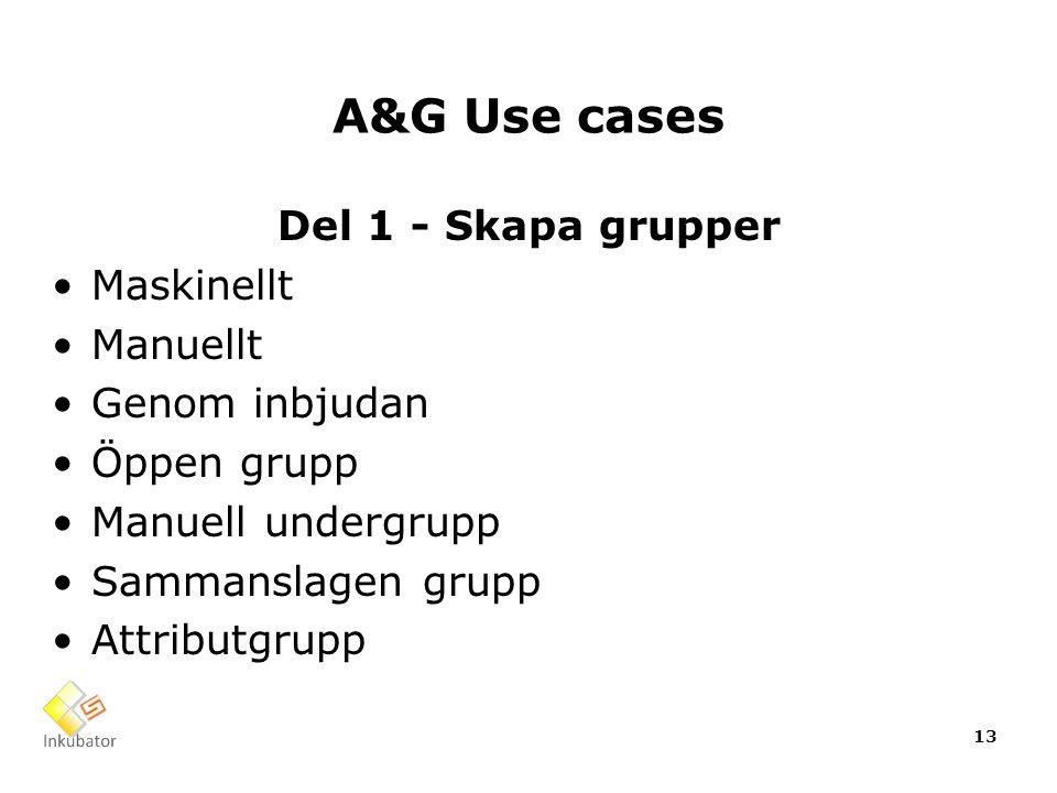 A&G Use cases Del 1 - Skapa grupper Maskinellt Manuellt Genom inbjudan Öppen grupp Manuell undergrupp Sammanslagen grupp Attributgrupp 13