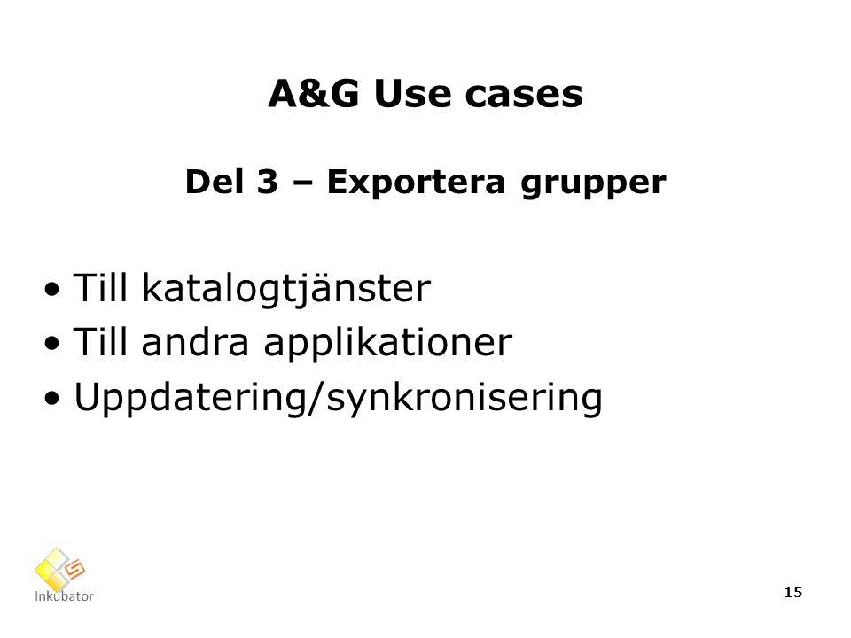 A&G Use cases Del 3 – Exportera grupper Till katalogtjänster Till andra applikationer Uppdatering/synkronisering 15