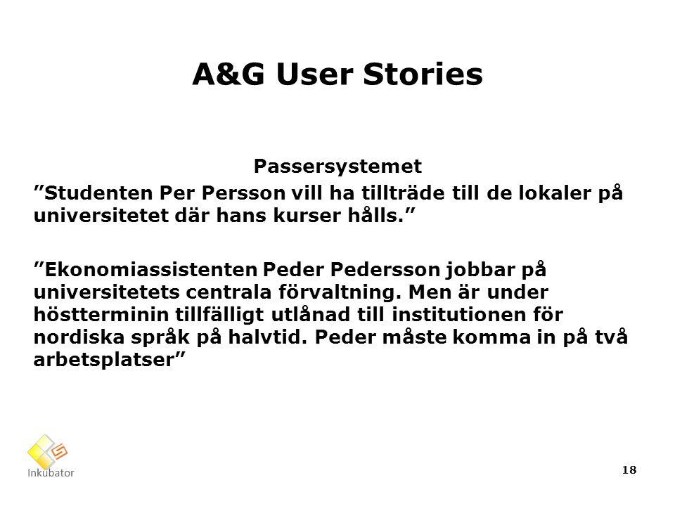 A&G User Stories Passersystemet Studenten Per Persson vill ha tillträde till de lokaler på universitetet där hans kurser hålls. Ekonomiassistenten Peder Pedersson jobbar på universitetets centrala förvaltning.