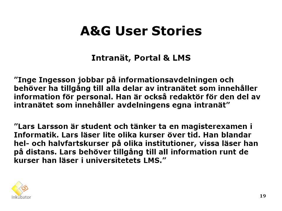 A&G User Stories Intranät, Portal & LMS Inge Ingesson jobbar på informationsavdelningen och behöver ha tillgång till alla delar av intranätet som innehåller information för personal.