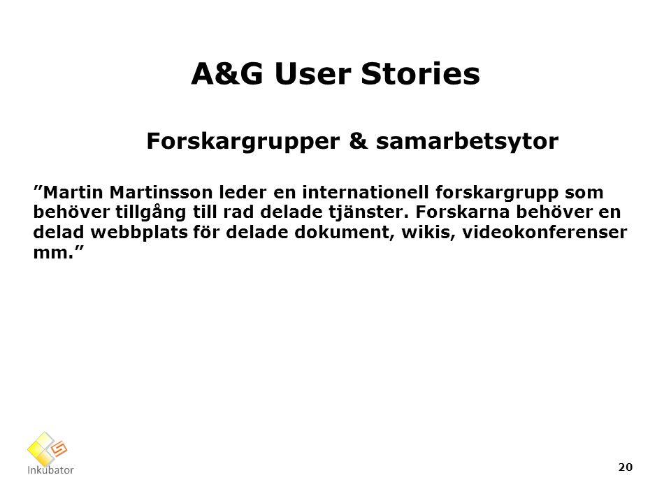 A&G User Stories Forskargrupper & samarbetsytor Martin Martinsson leder en internationell forskargrupp som behöver tillgång till rad delade tjänster.