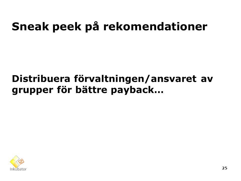 Sneak peek på rekomendationer Distribuera förvaltningen/ansvaret av grupper för bättre payback… 25