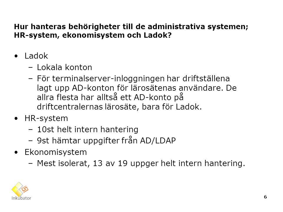 Hur hanteras behörigheter till de administrativa systemen; HR-system, ekonomisystem och Ladok? Ladok –Lokala konton –För terminalserver-inloggningen h