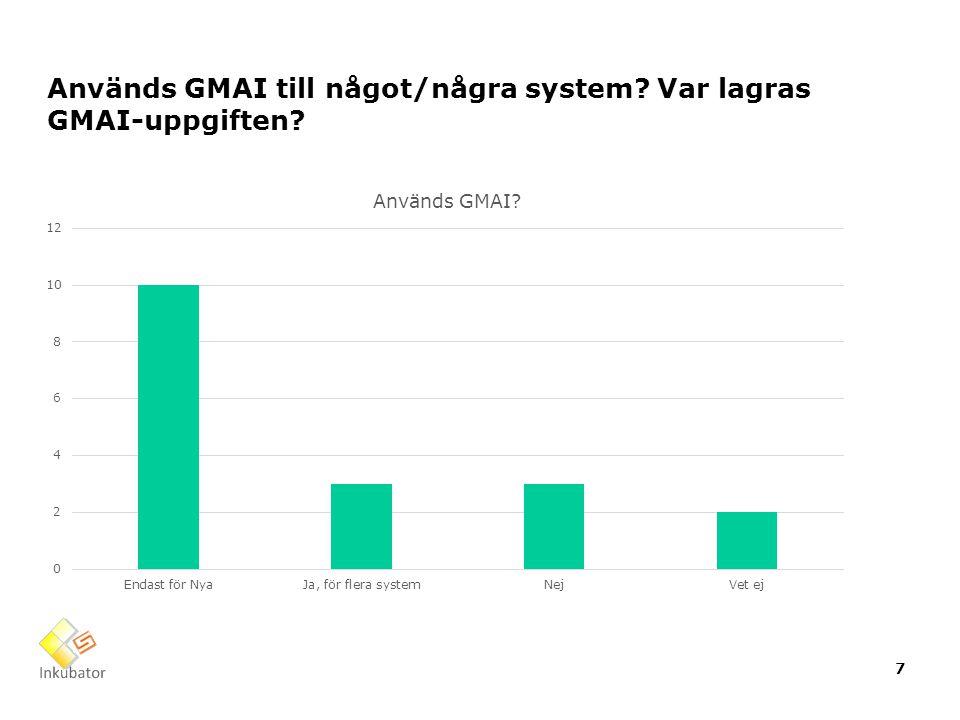 Används GMAI till något/några system? Var lagras GMAI-uppgiften? 7