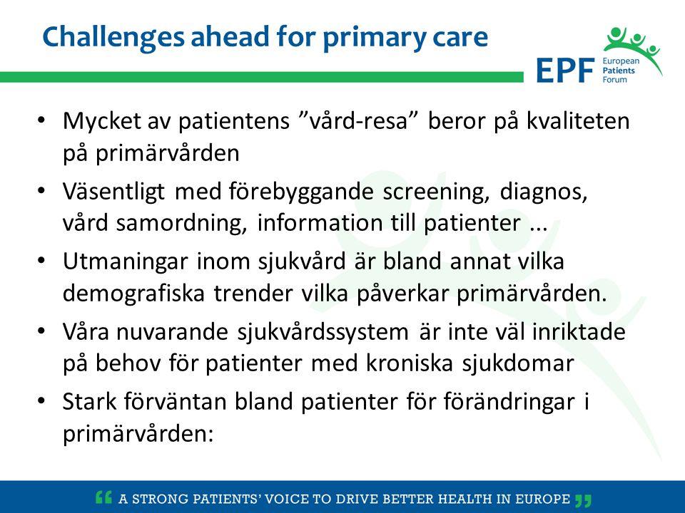 Patient roll har förändrats: från passiv mottagare till aktiv partner Information av hög kvalitet + Hälsokunskap Förmågan att inhämta, tolka och förstå hälsoinformation, att göra sunda hälsobeslut, och att navigera i sjukvården Nyckelroll inom primärvården, men för närvarande indikerar patienterna att de får mindre information än vad de skulle vilja ha patienter, när de informeras, ha befogenhet och bli inblandade, är en tillgång för samhället....