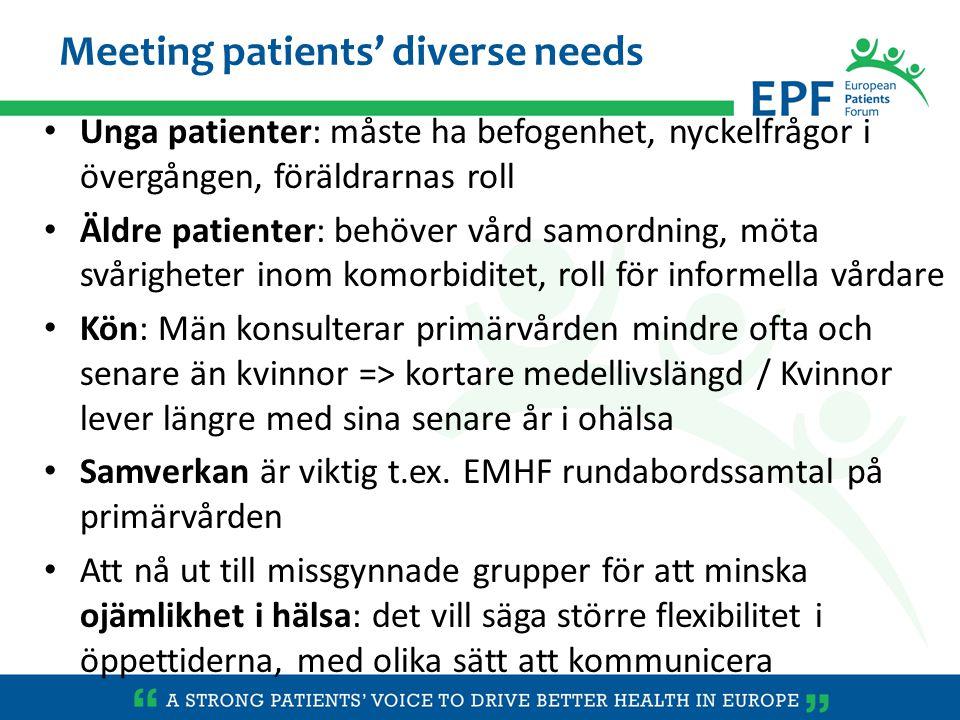 Unga patienter: måste ha befogenhet, nyckelfrågor i övergången, föräldrarnas roll Äldre patienter: behöver vård samordning, möta svårigheter inom komo