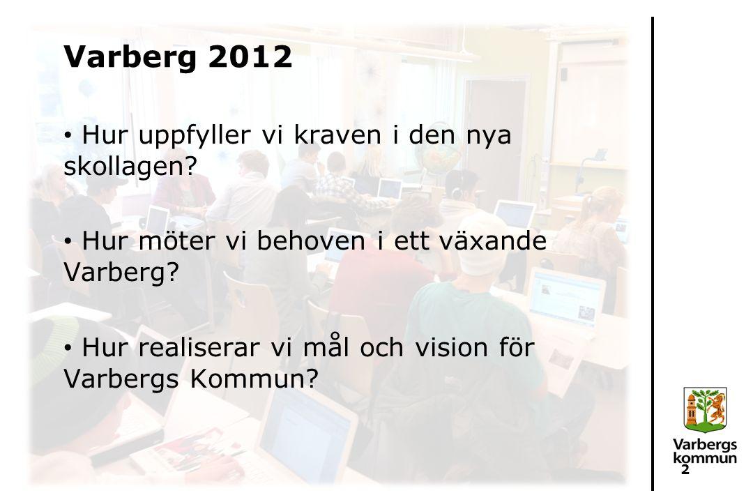 Varberg 2012 Hur uppfyller vi kraven i den nya skollagen? Hur möter vi behoven i ett växande Varberg? Hur realiserar vi mål och vision för Varbergs Ko