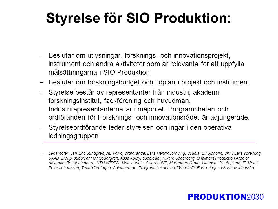 PRODUKTION 2030 Styrelse för SIO Produktion: –Beslutar om utlysningar, forsknings- och innovationsprojekt, instrument och andra aktiviteter som är rel