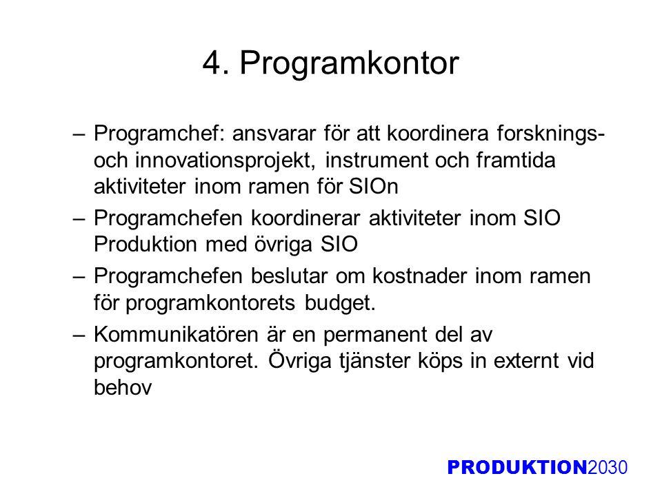 PRODUKTION 2030 4. Programkontor –Programchef: ansvarar för att koordinera forsknings- och innovationsprojekt, instrument och framtida aktiviteter ino