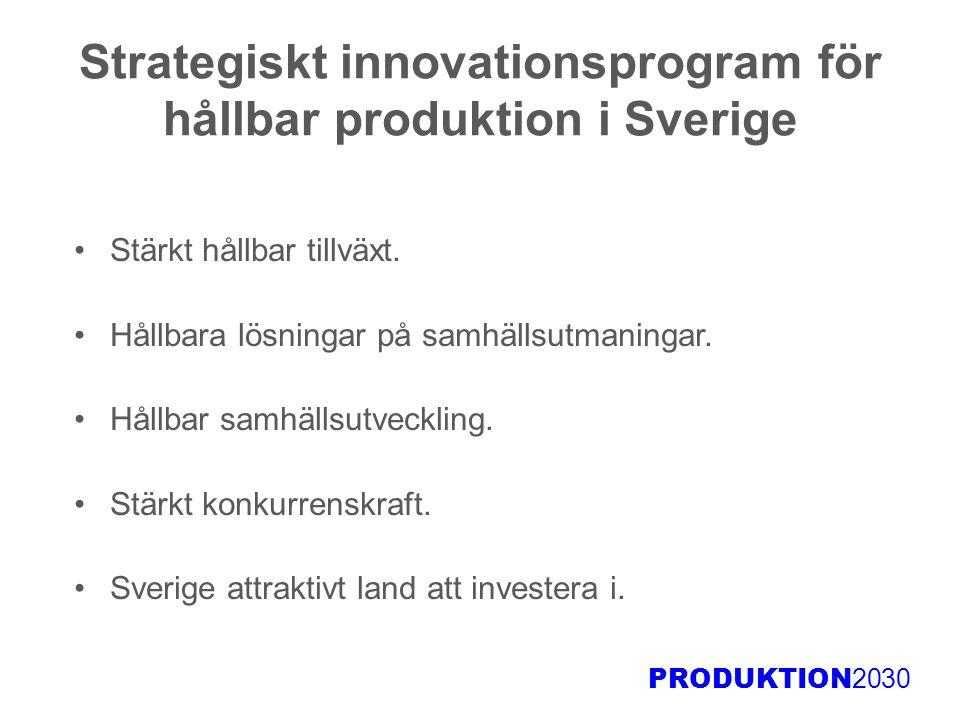 PRODUKTION 2030 Strategiskt innovationsprogram för hållbar produktion i Sverige Stärkt hållbar tillväxt. Hållbara lösningar på samhällsutmaningar. Hål