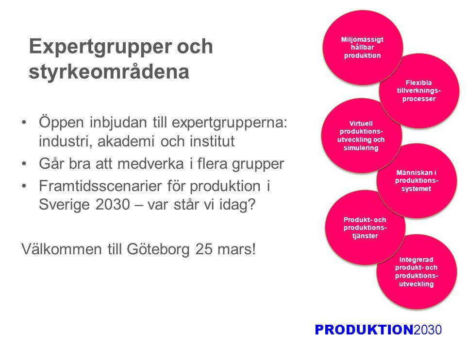 PRODUKTION 2030 Expertgrupper och styrkeområdena Öppen inbjudan till expertgrupperna: industri, akademi och institut Går bra att medverka i flera grup