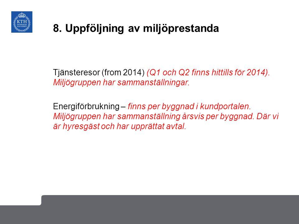 8. Uppföljning av miljöprestanda Tjänsteresor (from 2014) (Q1 och Q2 finns hittills för 2014). Miljögruppen har sammanställningar. Energiförbrukning –