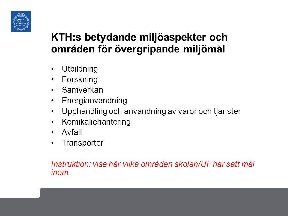 KTH:s betydande miljöaspekter och områden för övergripande miljömål Utbildning Forskning Samverkan Energianvändning Upphandling och användning av varo