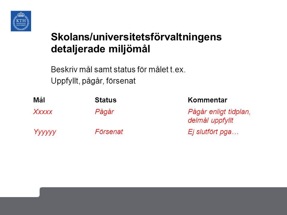 Skolans/universitetsförvaltningens detaljerade miljömål Beskriv mål samt status för målet t.ex.