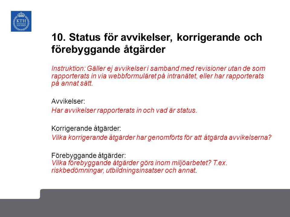 10. Status för avvikelser, korrigerande och förebyggande åtgärder Instruktion: Gäller ej avvikelser i samband med revisioner utan de som rapporterats