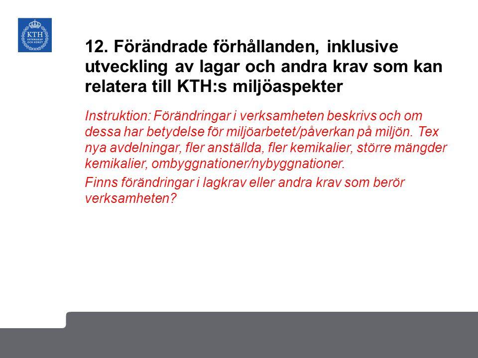 12. Förändrade förhållanden, inklusive utveckling av lagar och andra krav som kan relatera till KTH:s miljöaspekter Instruktion: Förändringar i verksa