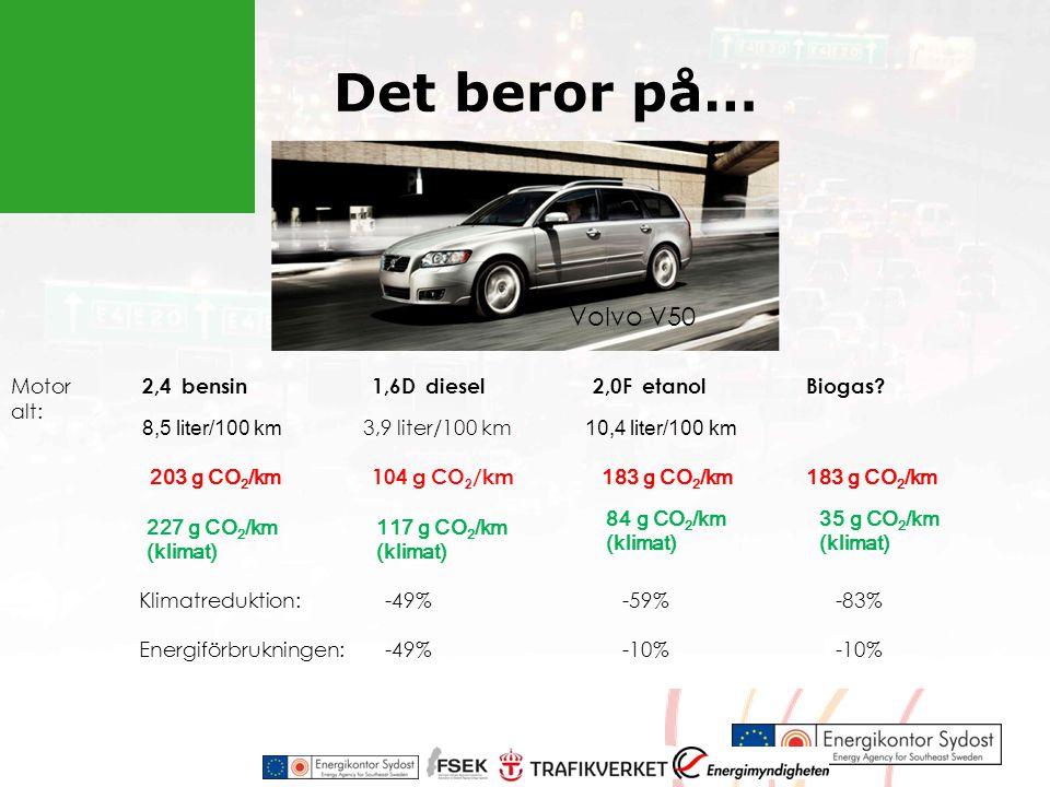 Det beror på… Volvo V50 Motor alt: 2,4 bensin1,6D diesel2,0F etanolBiogas.