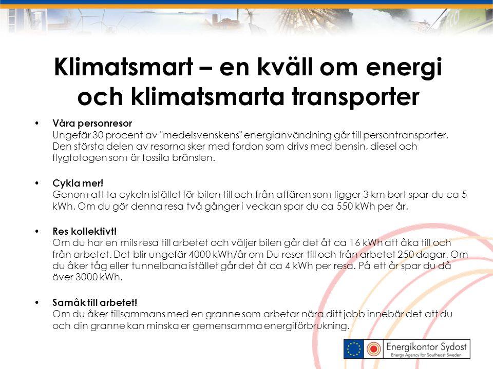 Klimatsmart – en kväll om energi och klimatsmarta transporter Våra personresor Ungefär 30 procent av medelsvenskens energianvändning går till persontransporter.
