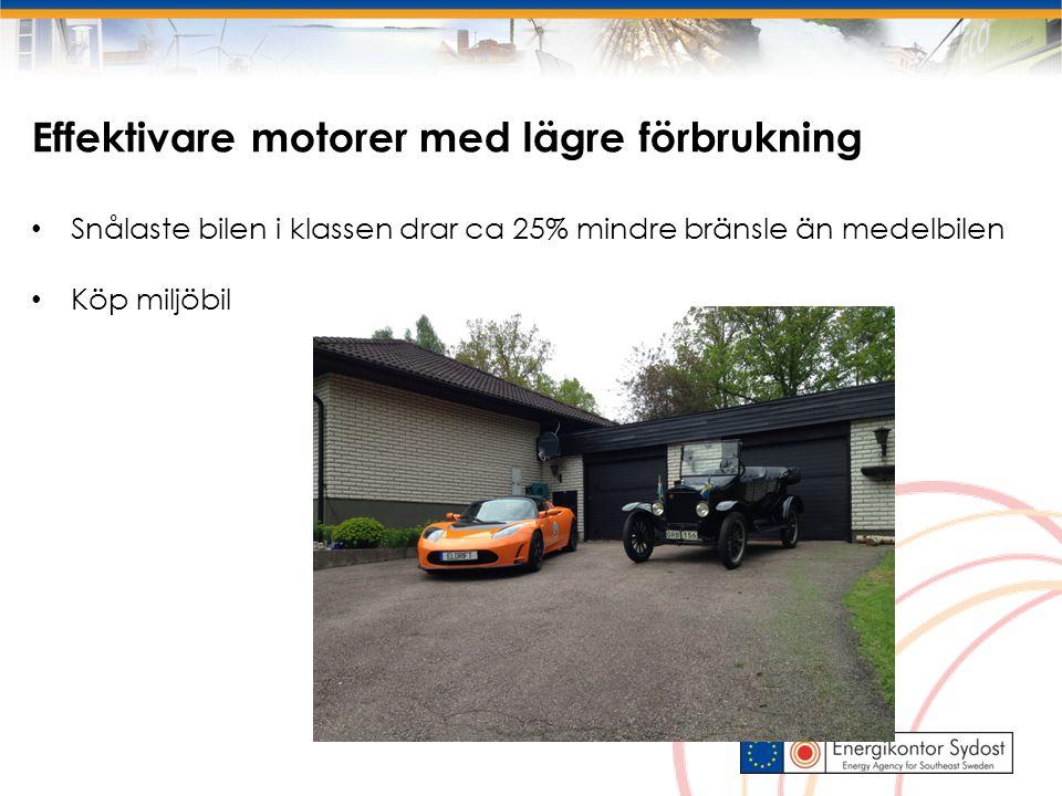 Effektivare motorer med lägre förbrukning Snålaste bilen i klassen drar ca 25% mindre bränsle än medelbilen Köp miljöbil