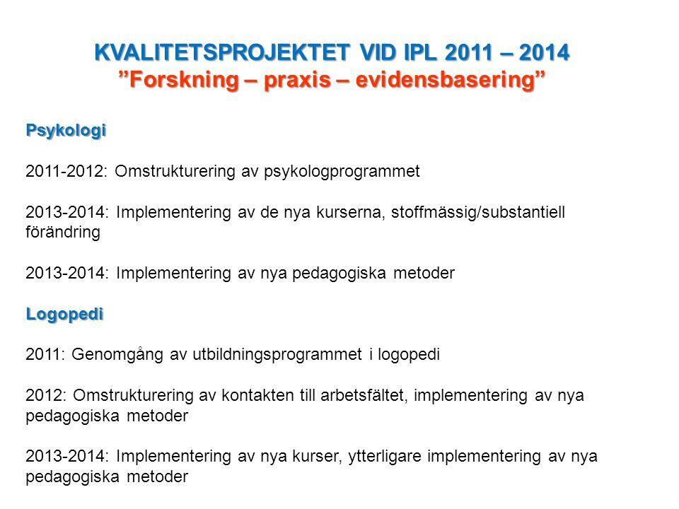 KVALITETSPROJEKTET VID IPL 2011 – 2014 Forskning – praxis – evidensbasering Psykologi 2011-2012: Omstrukturering av psykologprogrammet 2013-2014: Implementering av de nya kurserna, stoffmässig/substantiell förändring 2013-2014: Implementering av nya pedagogiska metoderLogopedi 2011: Genomgång av utbildningsprogrammet i logopedi 2012: Omstrukturering av kontakten till arbetsfältet, implementering av nya pedagogiska metoder 2013-2014: Implementering av nya kurser, ytterligare implementering av nya pedagogiska metoder