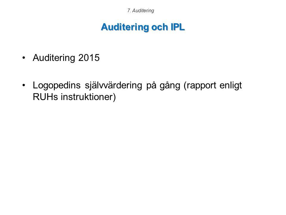 Auditering och IPL Auditering 2015 Logopedins självvärdering på gång (rapport enligt RUHs instruktioner) 7.