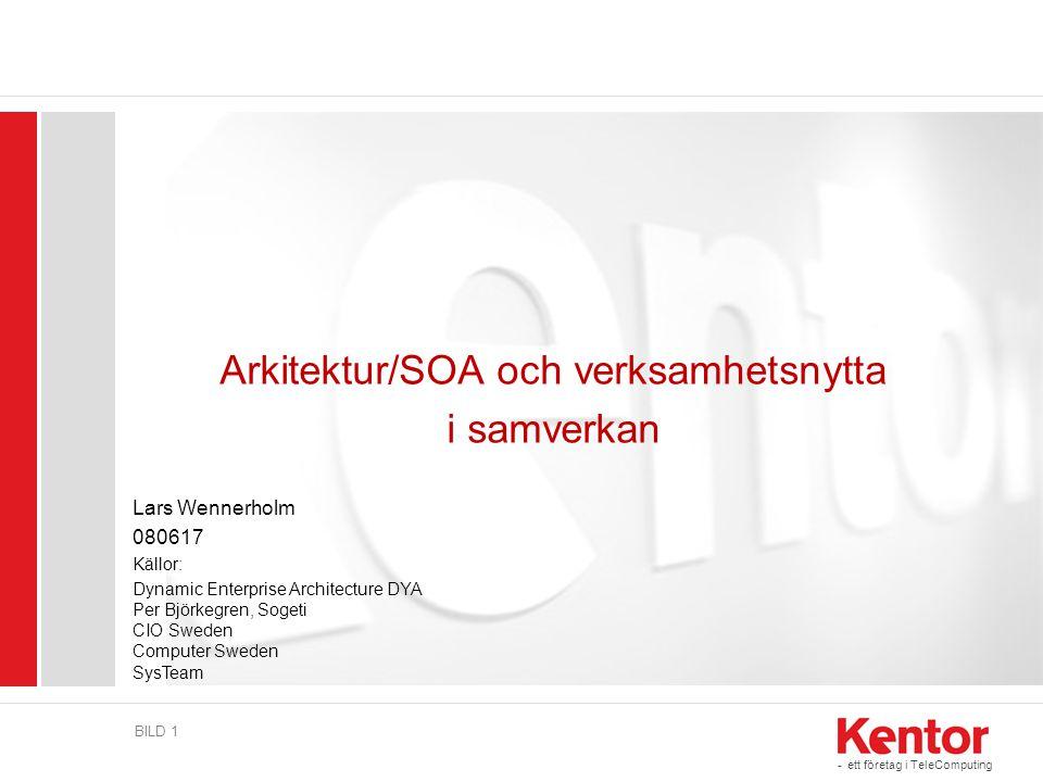 - ett företag i TeleComputing BILD 1 Arkitektur/SOA och verksamhetsnytta i samverkan Lars Wennerholm 080617 Källor: Dynamic Enterprise Architecture DY
