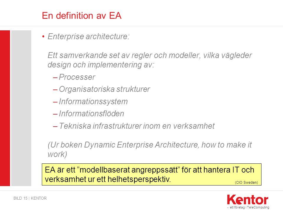 - ett företag i TeleComputing En definition av EA Enterprise architecture: Ett samverkande set av regler och modeller, vilka vägleder design och imple