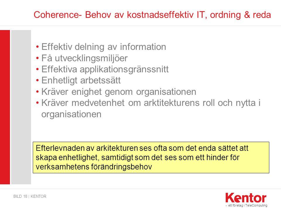- ett företag i TeleComputing Coherence- Behov av kostnadseffektiv IT, ordning & reda BILD 18 | KENTOR Effektiv delning av information Få utvecklingsm