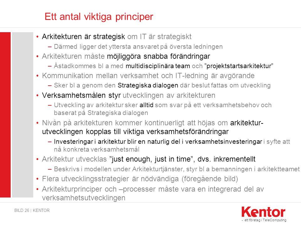 - ett företag i TeleComputing Ett antal viktiga principer BILD 26 | KENTOR Arkitekturen är strategisk om IT är strategiskt –Därmed ligger det yttersta