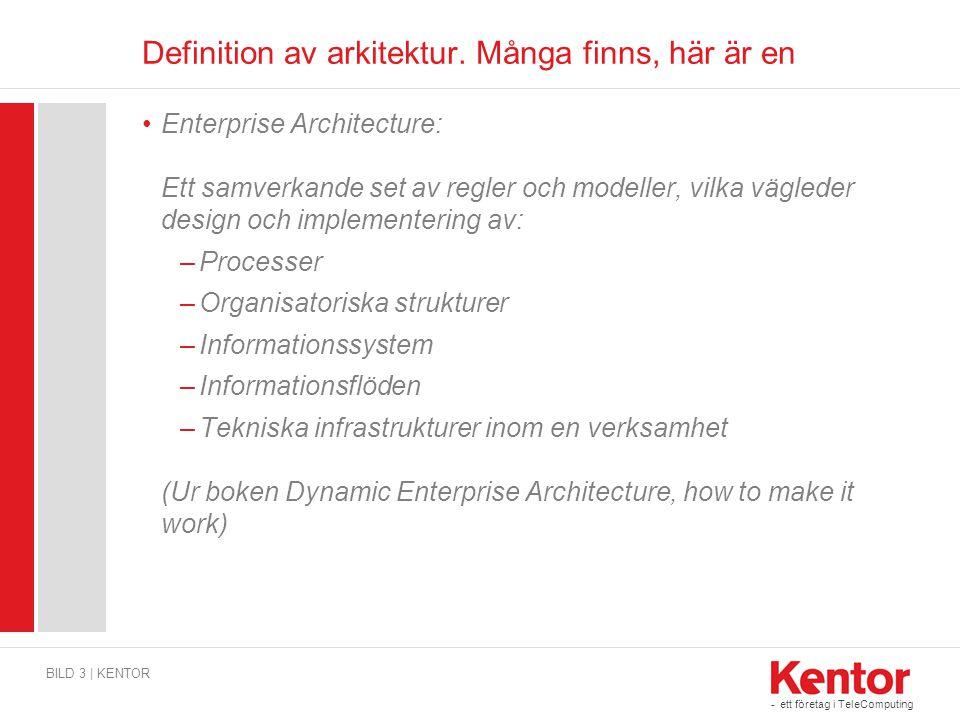 - ett företag i TeleComputing Definition av arkitektur. Många finns, här är en Enterprise Architecture: Ett samverkande set av regler och modeller, vi