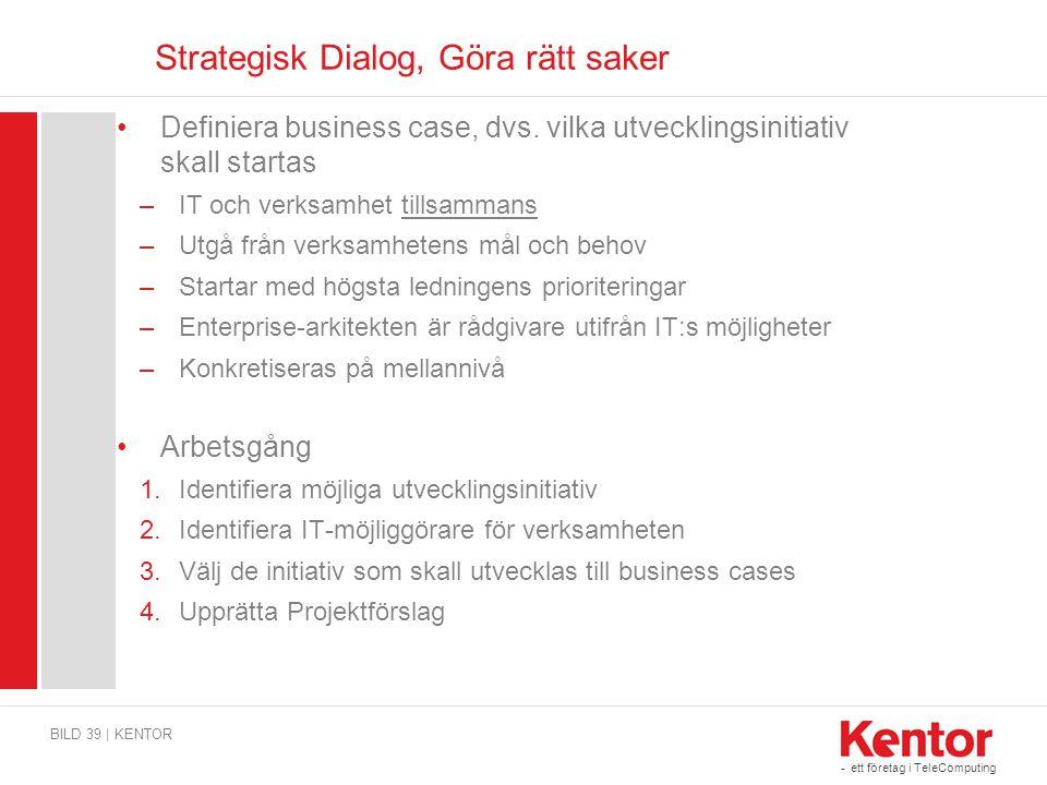 - ett företag i TeleComputing Strategisk Dialog, Göra rätt saker BILD 39 | KENTOR Definiera business case, dvs. vilka utvecklingsinitiativ skall start