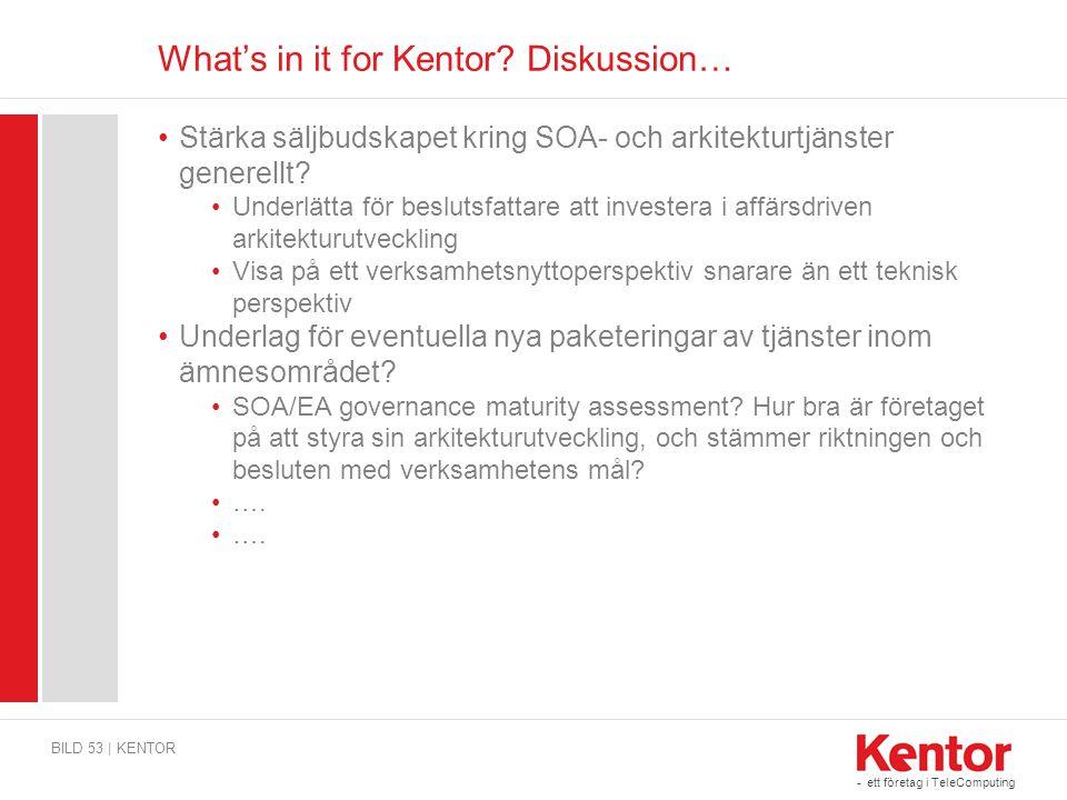 - ett företag i TeleComputing What's in it for Kentor? Diskussion… BILD 53 | KENTOR Stärka säljbudskapet kring SOA- och arkitekturtjänster generellt?