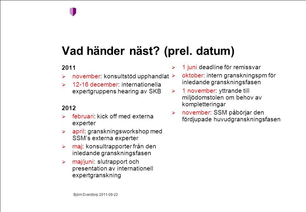 Björn Dverstorp 2011-09-22 Vad händer näst. (prel.