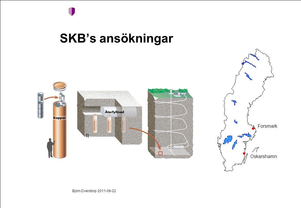 SKB's ansökningar Björn Dverstorp 2011-09-22 Forsmark Oskarshamn