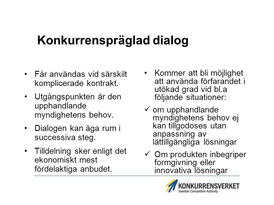 Konkurrenspräglad dialog Får användas vid särskilt komplicerade kontrakt. Utgångspunkten är den upphandlande myndighetens behov. Dialogen kan äga rum