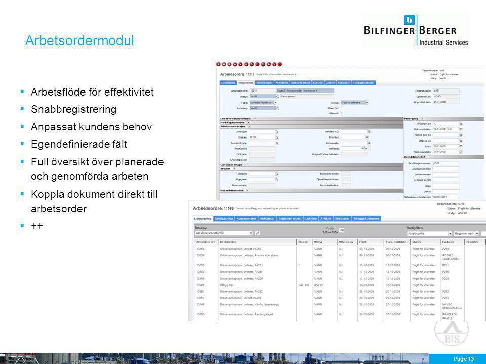 Page 13 Arbetsordermodul  Arbetsflöde för effektivitet  Snabbregistrering  Anpassat kundens behov  Egendefinierade fält  Full översikt över planerade och genomförda arbeten  Koppla dokument direkt till arbetsorder  ++