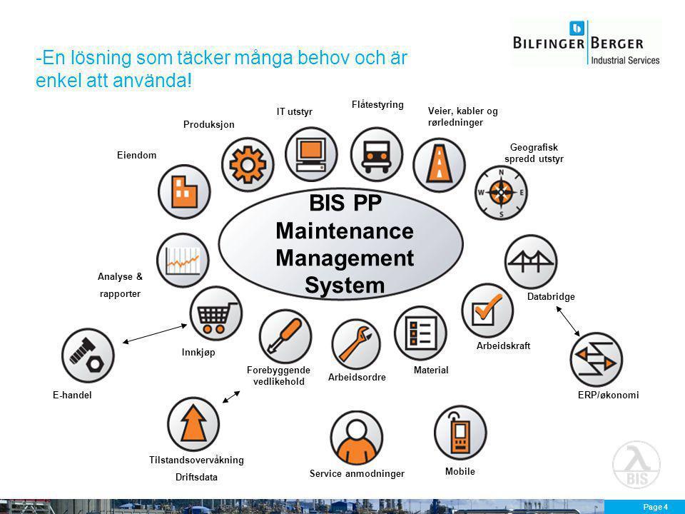 Page 4 -En lösning som täcker många behov och är enkel att använda! ERP/økonomi Produksjon Eiendom IT utstyr Flåtestyring Veier, kabler og rørledninge