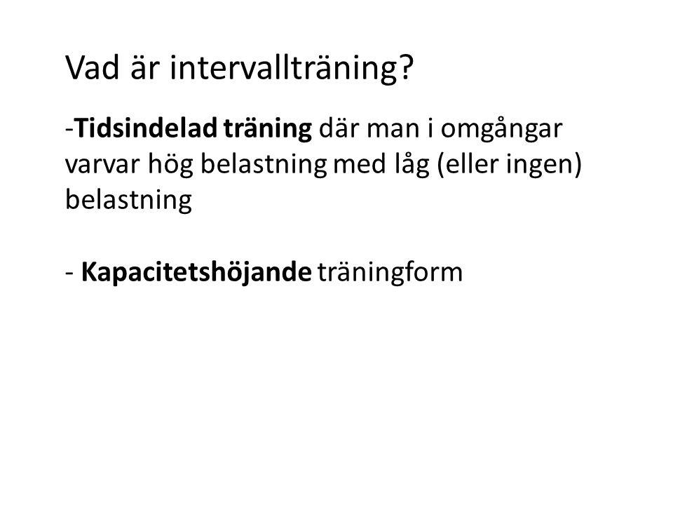 Vad är intervallträning? -Tidsindelad träning där man i omgångar varvar hög belastning med låg (eller ingen) belastning - Kapacitetshöjande träningfor