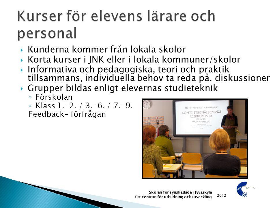  Kunderna kommer från lokala skolor  Korta kurser i JNK eller i lokala kommuner/skolor  Informativa och pedagogiska, teori och praktik tillsammans,