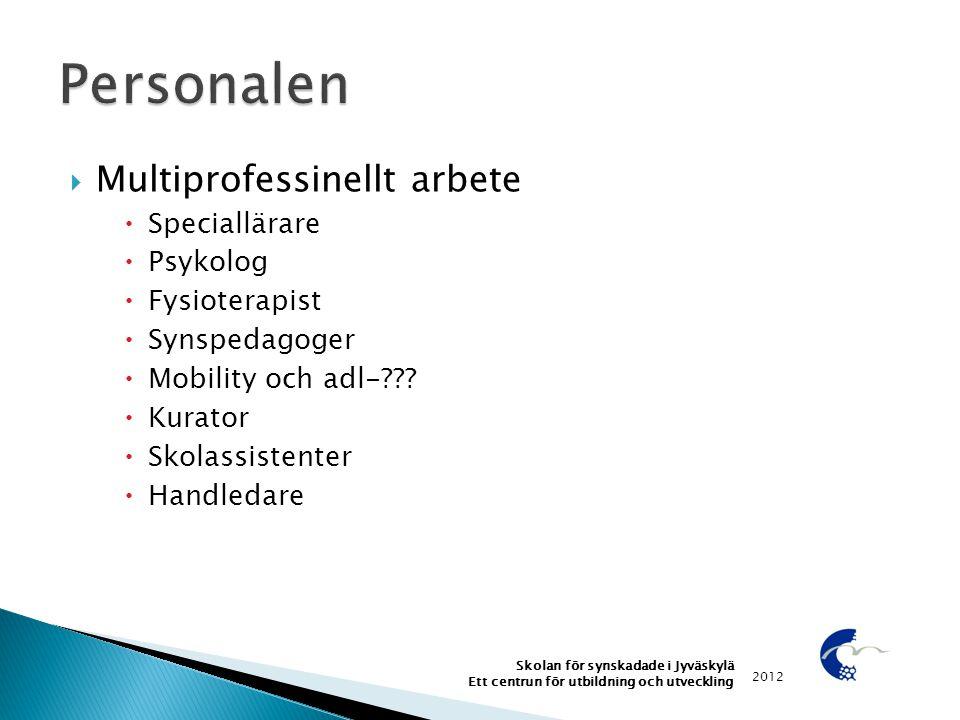  Multiprofessinellt arbete  Speciallärare  Psykolog  Fysioterapist  Synspedagoger  Mobility och adl-???  Kurator  Skolassistenter  Handledare