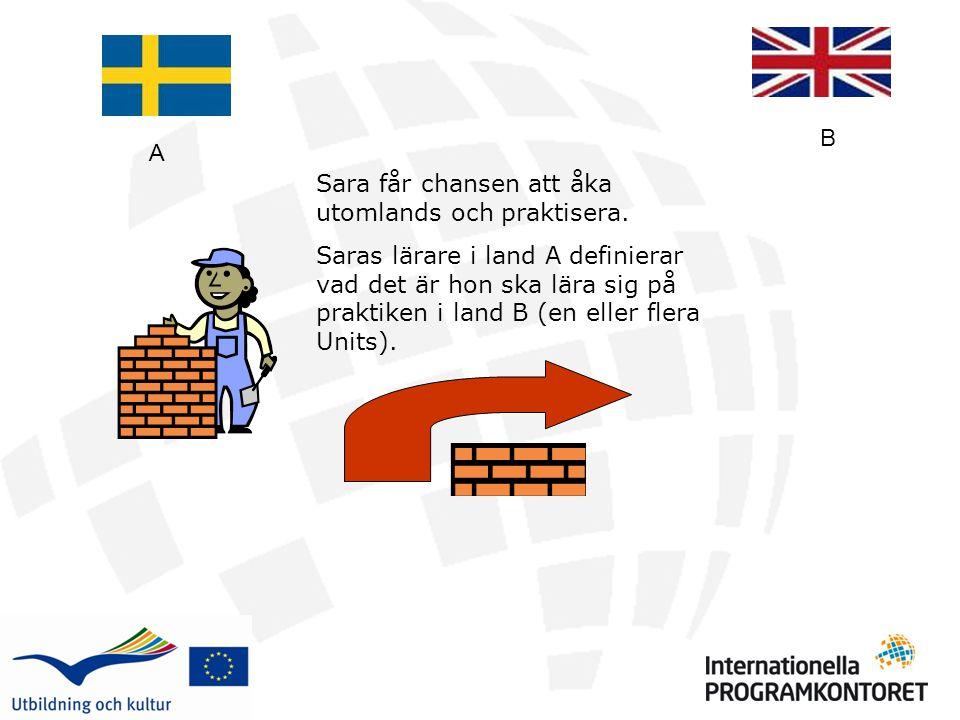 Sara får chansen att åka utomlands och praktisera. Saras lärare i land A definierar vad det är hon ska lära sig på praktiken i land B (en eller flera