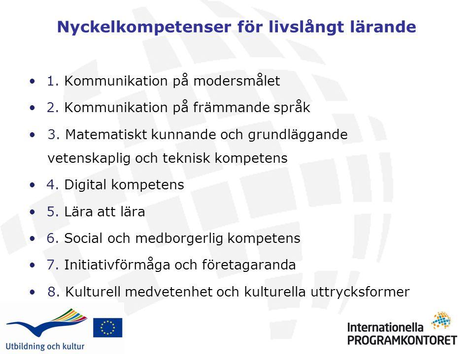 Nyckelkompetenser för livslångt lärande 1.Kommunikation på modersmålet 2.