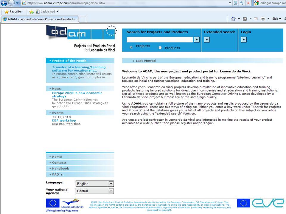Databasen ADAM ADAM är en europeisk databas för resultat och produkter som utvecklats av Leonardoprojekt.