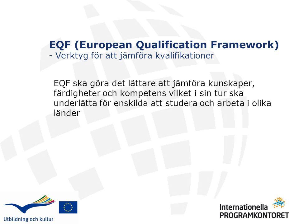 EQF (European Qualification Framework) - Verktyg för att jämföra kvalifikationer EQF ska göra det lättare att jämföra kunskaper, färdigheter och kompetens vilket i sin tur ska underlätta för enskilda att studera och arbeta i olika länder