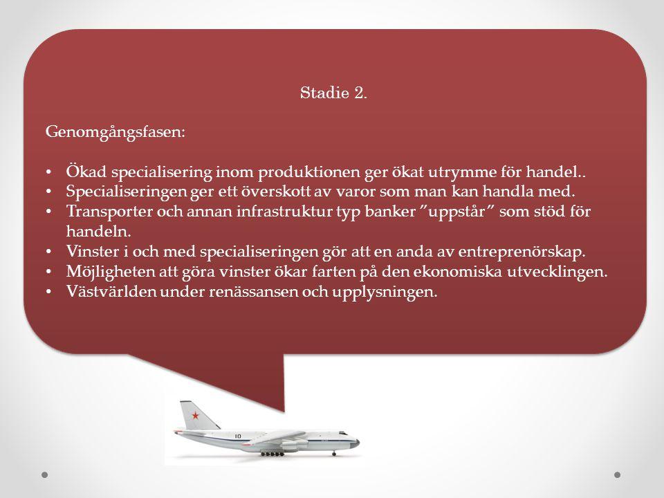 Stadie 2. Genomgångsfasen: Ökad specialisering inom produktionen ger ökat utrymme för handel.. Specialiseringen ger ett överskott av varor som man kan